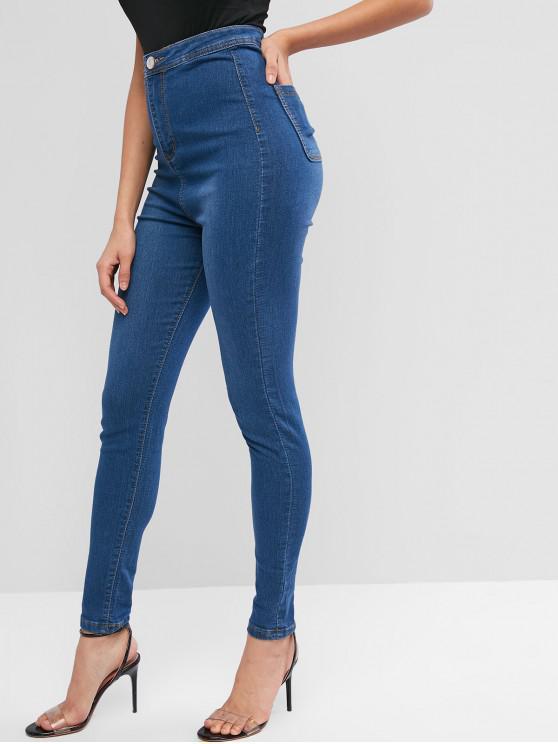 hot Basic High Waisted Skinny Jeans - DENIM BLUE M