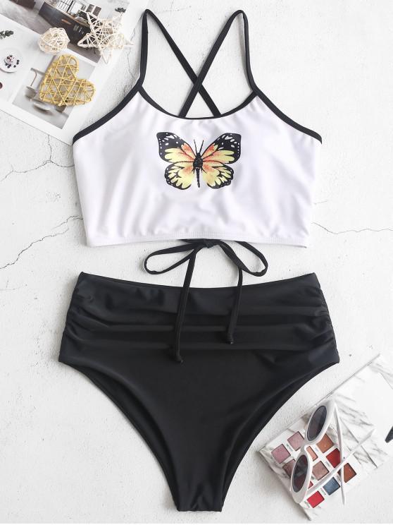 chic ZAFUL Butterfly Print Lace Up Tummy Control Tankini Swimsuit - MULTI-A L