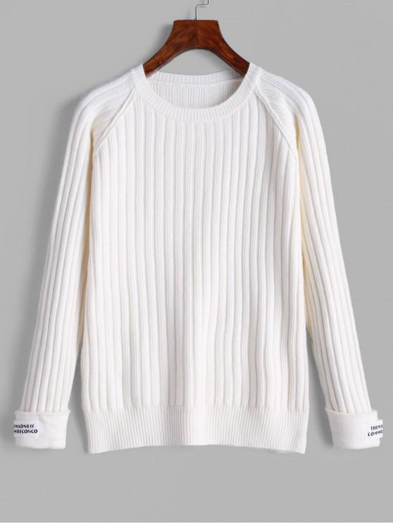 unique Cuffed Sleeves Letter Patched Ribbed Sweater - WHITE ONE SIZE