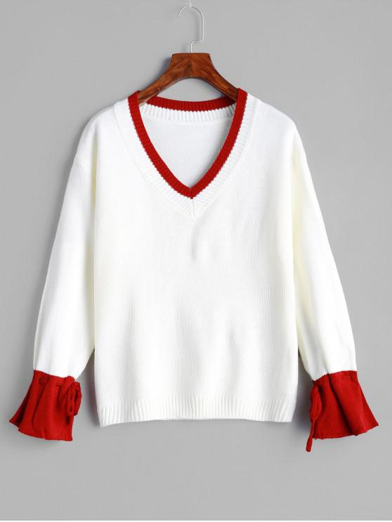 women's Tied Sleeves Contrast V Neck Sweater - WHITE ONE SIZE