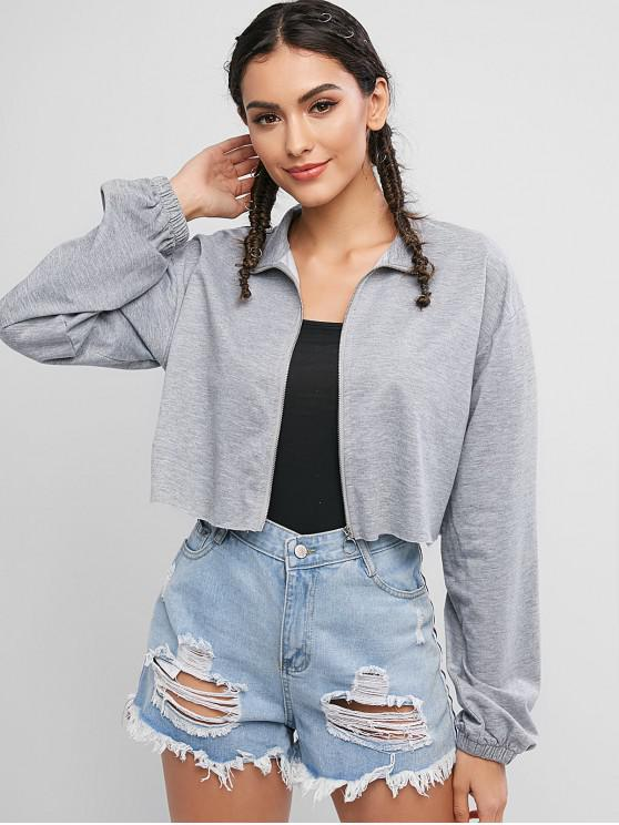 sale ZAFUL Drop Shoulder Raw Hem Crop Jacket - GRAY GOOSE M