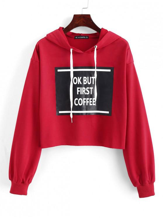 womens ZAFUL Ok But First Coffee Graphic Cropped Hoodie - FIREBRICK XL