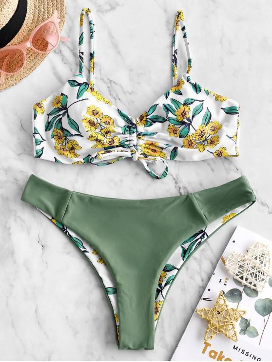fashion ZAFUL Reversible Cinched Flower Leaf Print Bikini Swimsuit - MULTI-A L
