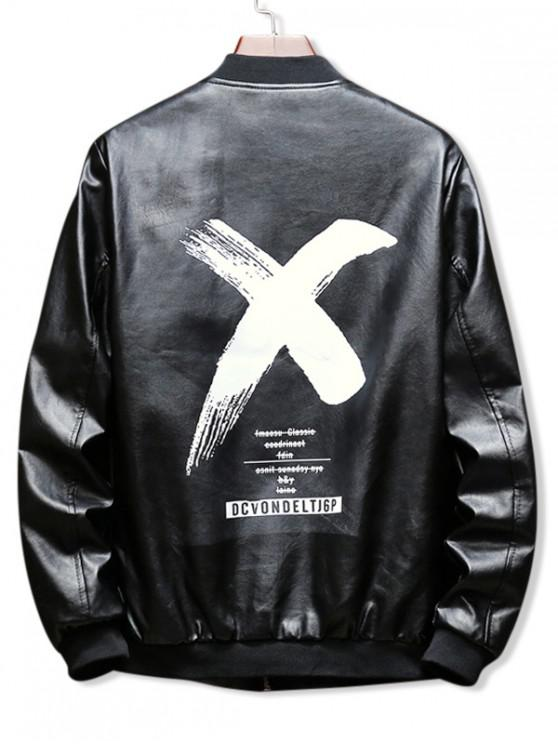 unique Cross Letter Graphic Print Zipper PU Jacket - BLACK S