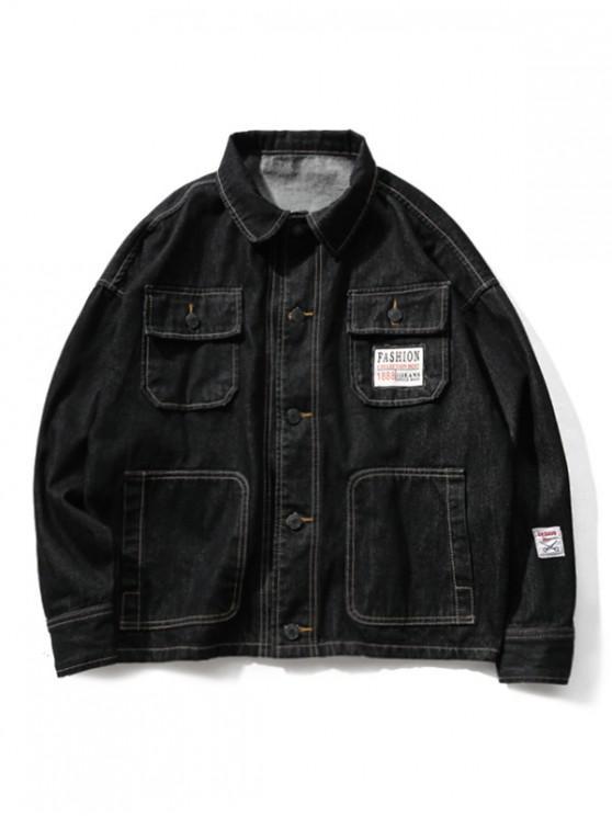 lady Solid Applique Multi Pocket Splicing Pocket Jean Jacket - BLACK 4XL