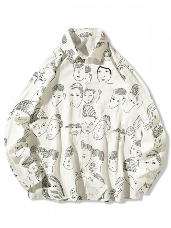new Character Drawstring Print Chest Pocket Button Shirt - WHITE M