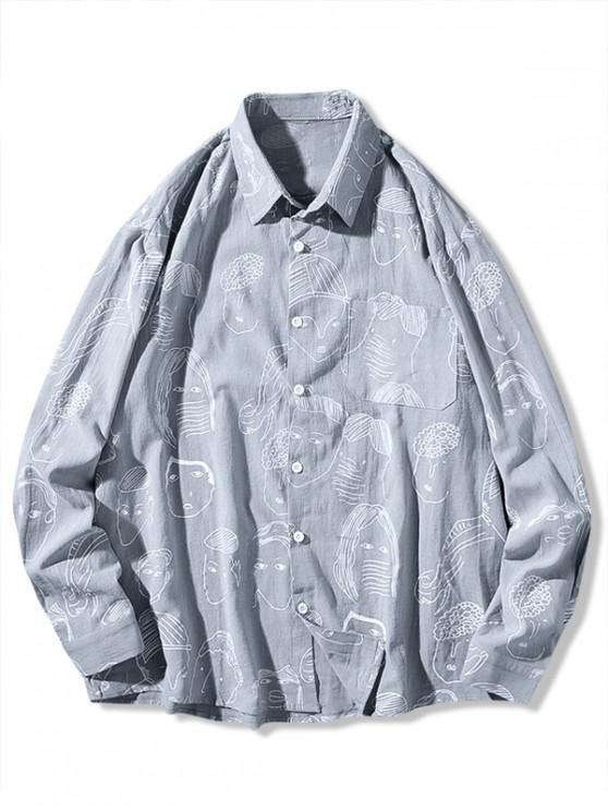 online Character Drawstring Print Chest Pocket Button Shirt - GRAY L