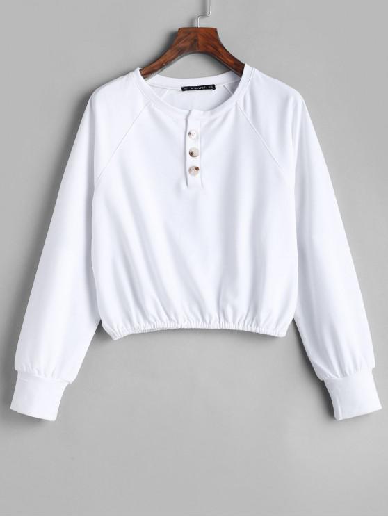 womens ZAFUL Raglan Sleeve Pullover Half Buttoned Sweatshirt - WHITE L