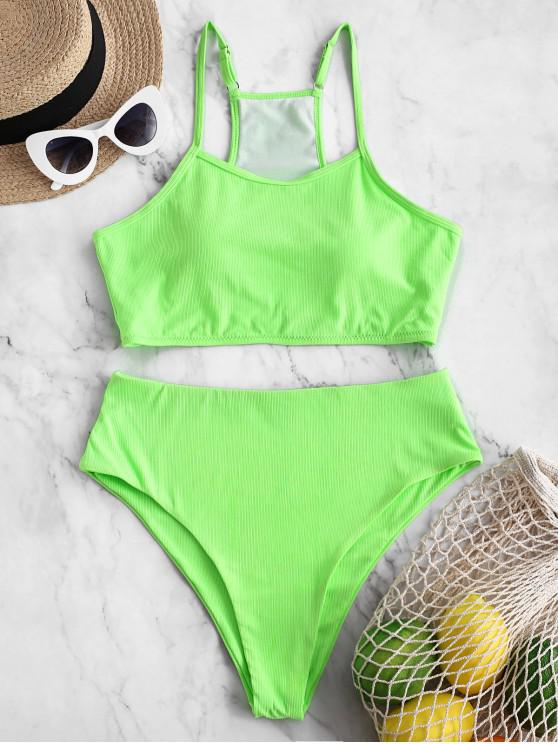 unique ZAFUL Ribbed Neon High Cut Tankini Swimsuit - GREEN M
