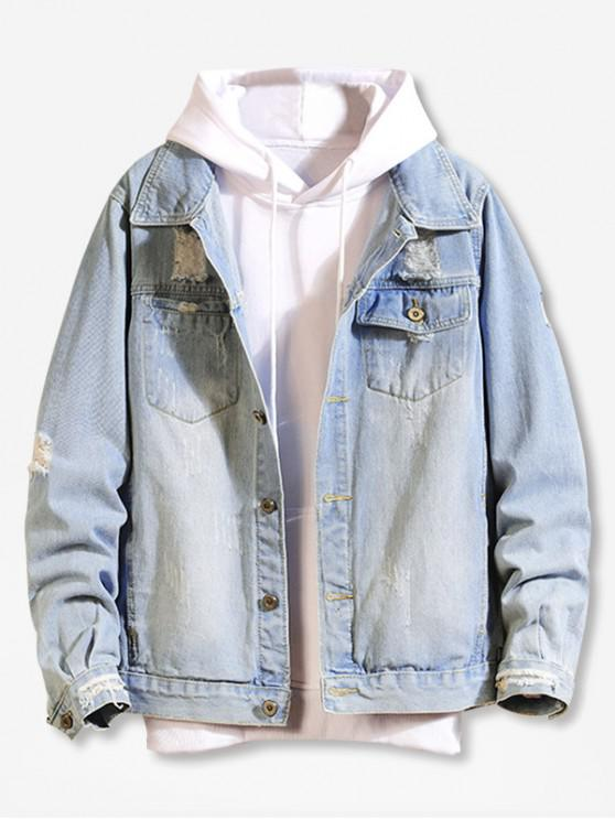 fashion Destroy Wash Scratch Casual Jean Jacket - BLUE XS