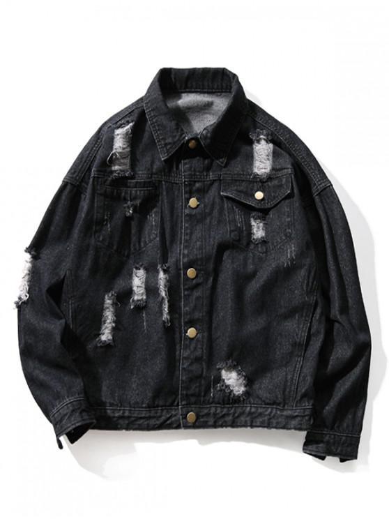 chic Distressed Color Block Destroy Wash Scratch Zip Hem Jean Jacket - BLACK XL