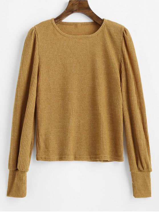 best Long Sleeve Plain Ribbed Knit Top - BEE YELLOW M