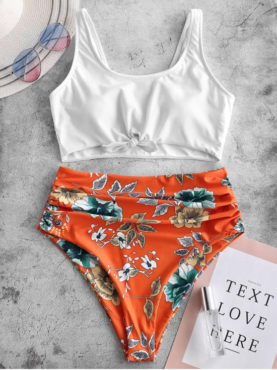 chic ZAFUL Knot Ruched Plant Print Tankini Swimsuit - WHITE S