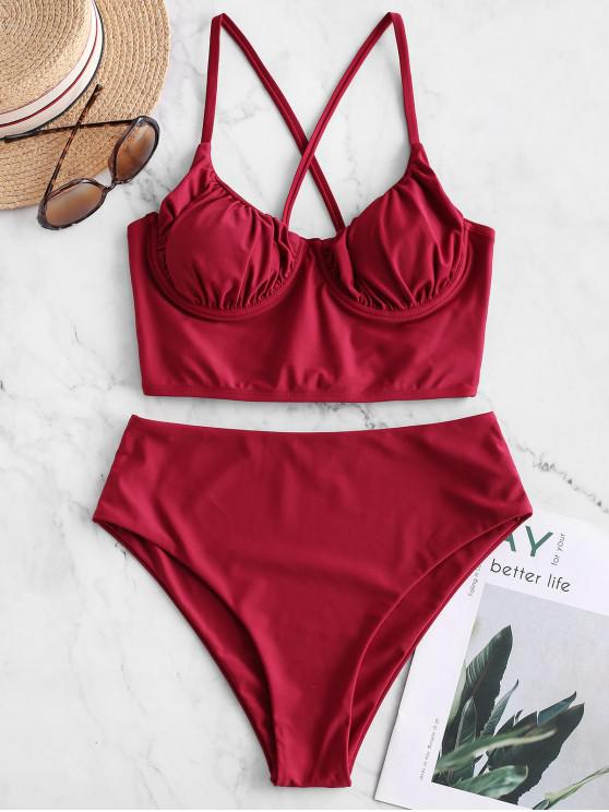 ladies ZAFUL Push Up Cross Ruched High Cut Tankini Swimsuit - RED WINE M
