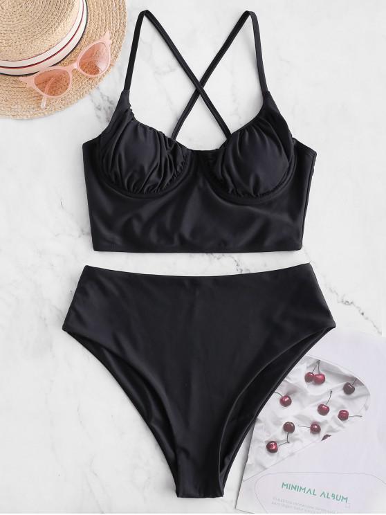 chic ZAFUL Push Up Cross Ruched High Cut Tankini Swimsuit - BLACK L