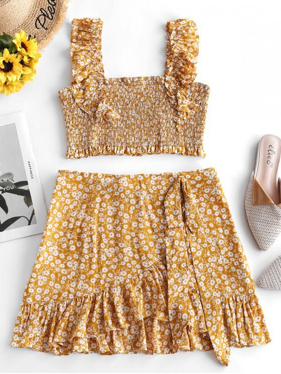 affordable ZAFUL Smocked Tiny Floral Top and Ruffles Skirt Set - BEE YELLOW M
