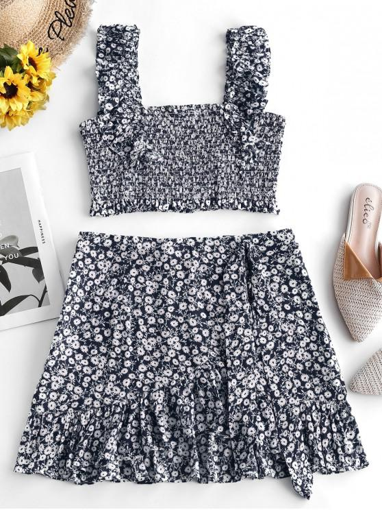 outfits ZAFUL Smocked Tiny Floral Top and Ruffles Skirt Set - MIDNIGHT BLUE S