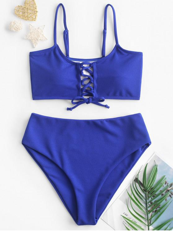 trendy ZAFUL Textured Lace Up Tankini Swimsuit - COBALT BLUE S