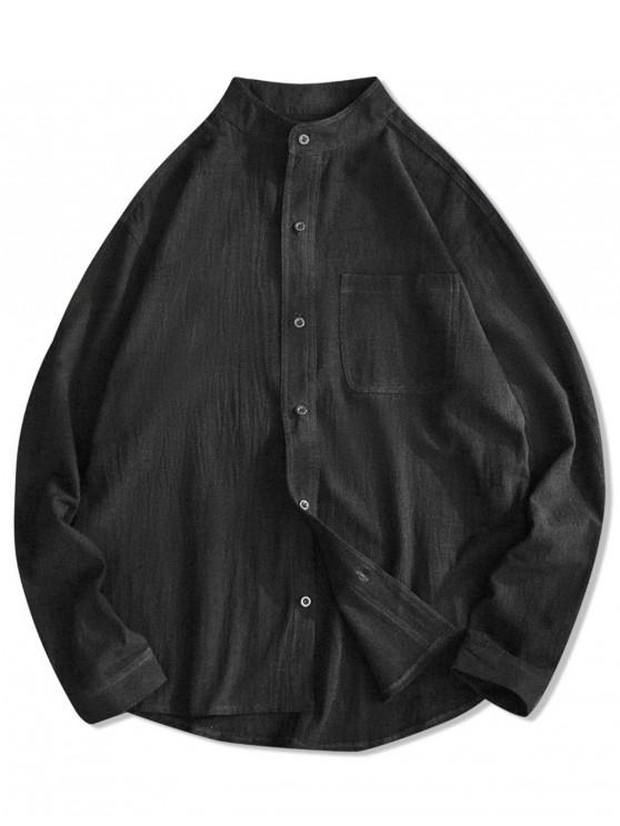 affordable Solid Color Chest Pocket High Low Button Shirt - BLACK 3XL
