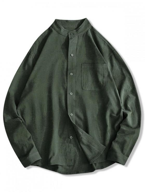 shop Solid Color Chest Pocket High Low Button Shirt - ARMY GREEN 3XL