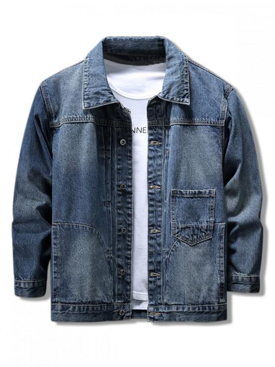 chic Splicing Pocket Jean Jacket - BLUE 2XL