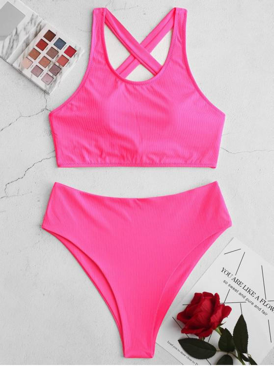 affordable ZAFUL Neon High Cut Ribbed Criss Cross Tankini Swimsuit - NEON PINK S