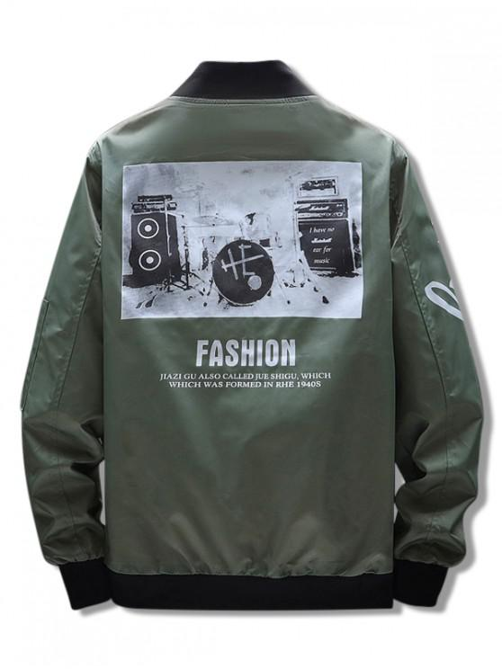 women's Musical Instrument Letter Graphic Print Zipper Pocket Jacket - ARMY GREEN S
