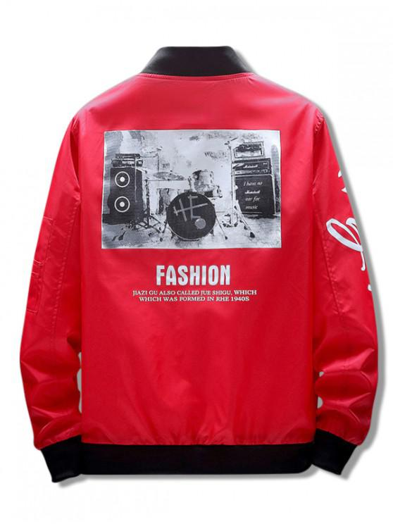 sale Musical Instrument Letter Graphic Print Zipper Pocket Jacket - RED M