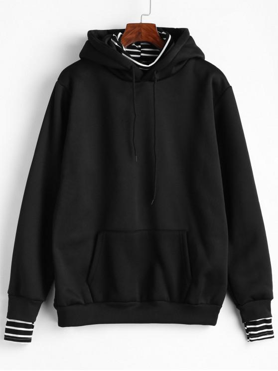 best Striped Front Pocket Faux Twinset Hoodie - BLACK XL