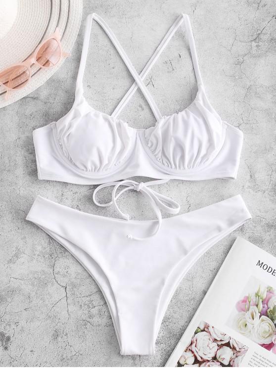 outfits ZAFUL Criss Cross Ruched Push Up Bikini Swimsuit - WHITE S