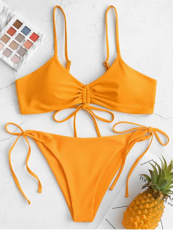 best ZAFUL Cinched Low Rise String Tie Bikini Swimsuit - BEE YELLOW L