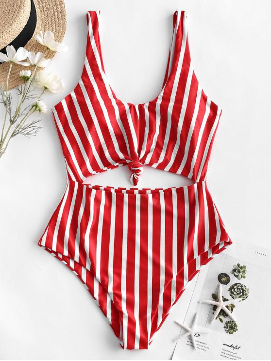 buy ZAFUL Striped Knotted Monokini Swimsuit - MULTI-C S