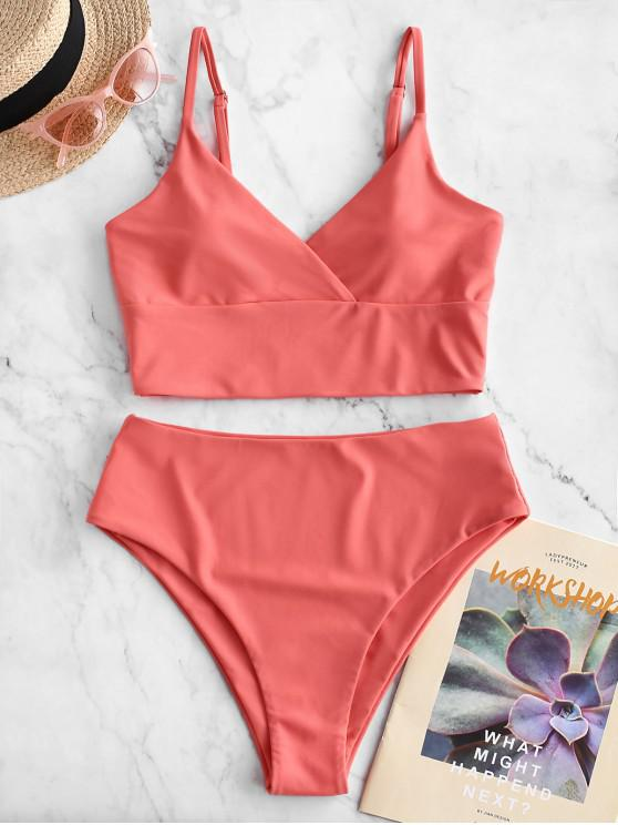 outfits ZAFUL Surplice High Cut Cami Tankini Swimsuit - BEAN RED 2XL