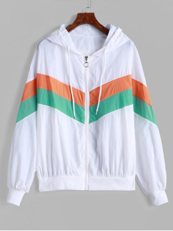 affordable Drawstring Zip Up Color Block Windbreaker Jacket - MULTI-A ONE SIZE