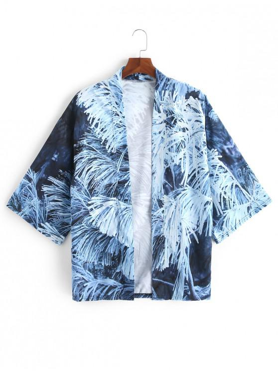 online Frosted Cedar Print Open Front Casual Kimono Cardigan - SLATE BLUE L