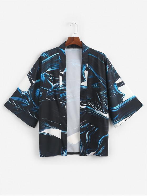 trendy Abstract Pattern Print Open Front Kimono Cardigan - DARK SLATE BLUE 3XL