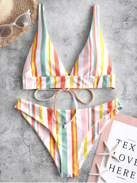 online ZAFUL Colorful Striped Bikini Swimsuit - MULTI-A S
