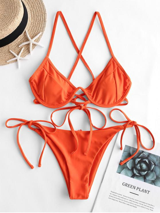 fashion ZAFUL Push Up Criss Cross String Bikini Swimsuit - ORANGE M