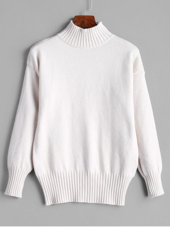 womens High Neck Ribbed Solid Sweater - WARM WHITE ONE SIZE