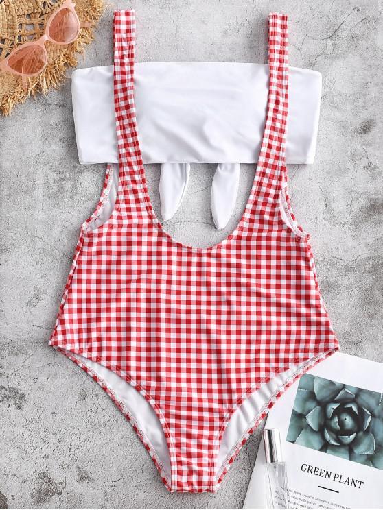 fashion ZAFUL Plaid Suspender Bandeau Two Pieces Swimsuit - MULTI-A 2XL