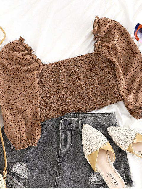 chic ZAFUL Smocked Speckled Print Cropped Blouse - DEEP COFFEE S Mobile