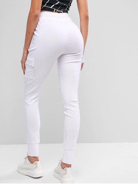 Pantalones sólidos con cordón y bolsillos - Blanco XL Mobile