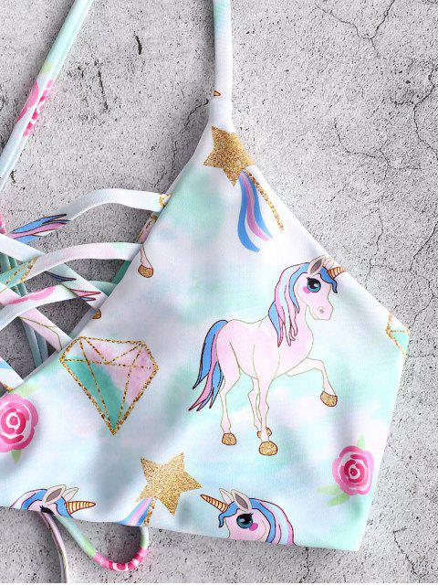 ZAFUL Maillot de Bain Bikini Etoile Licorne Fleur Imprimés - Multi-A M Mobile