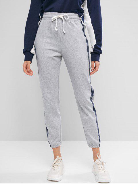 Pantalones de chándal con cordón a rayas laterales ZAFUL - Ganso Gris S Mobile