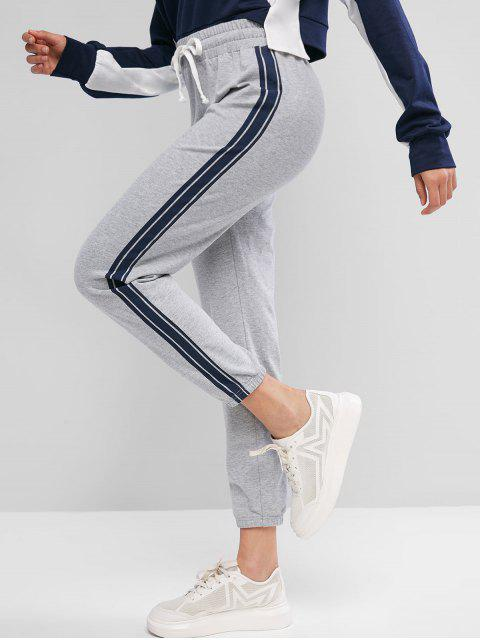 shops ZAFUL Side Striped Drawstring Jogger Pants - GRAY GOOSE M Mobile