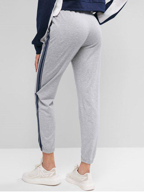 Pantalones de chándal con cordón a rayas laterales ZAFUL - Ganso Gris XL Mobile