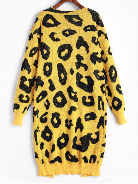 hot Leopard Pocket Drop Shoulder Cardigan - GOLDENROD S Mobile