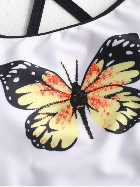 Bañador Tankini con control de barriga y cordones con estampado de mariposa ZAFUL - Multicolor-A S Mobile