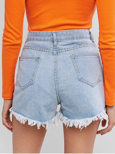 affordable Frayed Striped Tape Distressed Denim Shorts - DENIM BLUE L Mobile