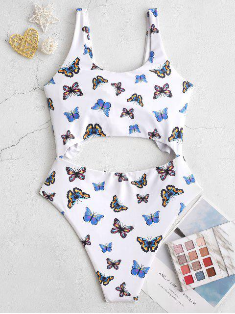 women's ZAFUL Butterfly Print Ruffle Cut Out One-piece Swimsuit - MULTI-A XL Mobile
